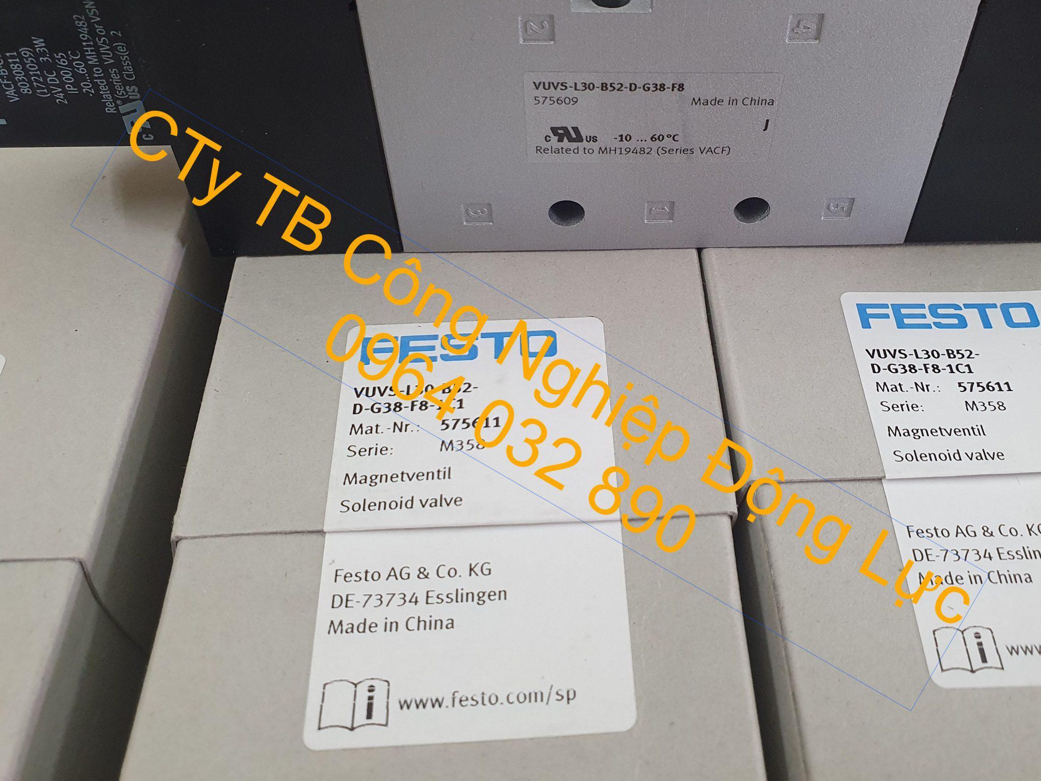 van điện từ khí nén festo VUVS-L30-B52-D-G38-F8-1C1 hàng chính hãng có bảo hành 1 năm trên toàn quốc với giá rẻ nhất trên thị trường hiện nay